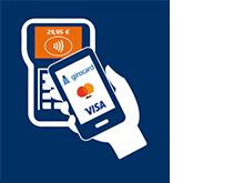 Mobiles Bezahlen - Bezahlterminal zeigt an, dass Zahlung erfolgt ist