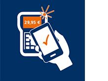 Mobiles Bezahlen - Smartphone ans Kartenlesegerät halten